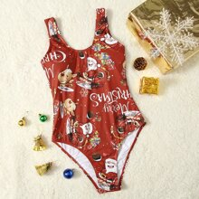 Christmas Print One Piece Swimsuit