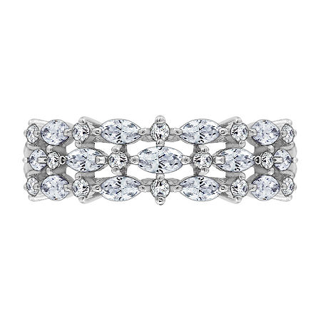 8MM 1 1/4 CT. T.W. Cubic Zirconia Sterling Silver Round Band, 6 , No Color Family