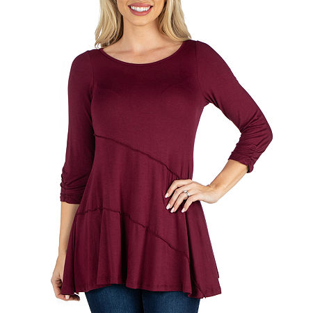24/7 Comfort Apparel 3/4 Sleeve Tunic Top, Small , Red