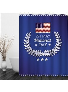3D American Memorial Day Pattern Polyester Waterproof and Eco-friendly Blue Shower Curtain