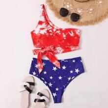 Bikini Badeanzug mit Batik, Stern Muster und einer Schulter