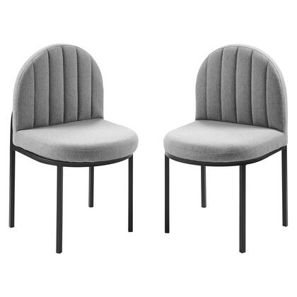 Isla Collection EEI-4504-BLK-LGR Dining Side Chair Upholstered Fabric Set of 2 in Black Light Gray