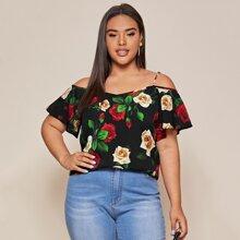 Camisa floral de hombros descubiertos