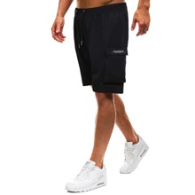 Men Flap Pocket Drawstring Waist Bermuda Shorts