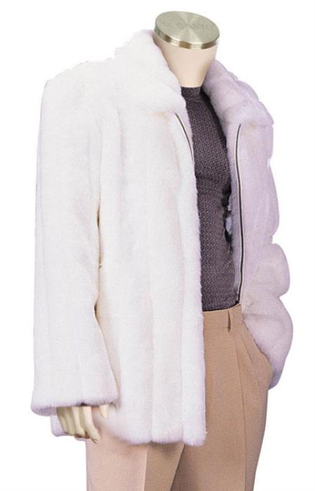 White Faux Fur Full Length Coat Mens