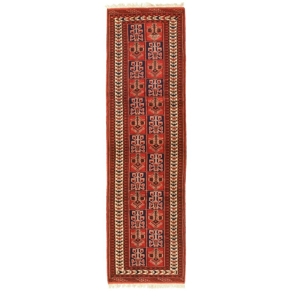 ECARPETGALLERY Hand-knotted Turkman Dark Copper Wool Rug - 2'7 x 9'4 (Dark Copper - 2'7 x 9'4)