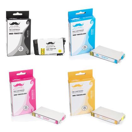 Epson 802 T802120 noir et T802XL couleur cartouche d'encre remanufacturé combo BK/C/M/Y - Moustache®
