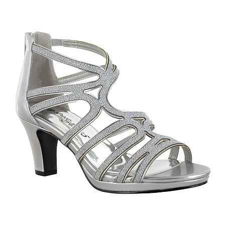 Easy Street Womens Elated Pumps Spike Heel, 10 Medium, Silver