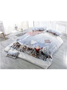 Adorable Santa Claus and Reindeer Wear-resistant Breathable High Quality 60s Cotton 4-Piece 3D Bedding Sets