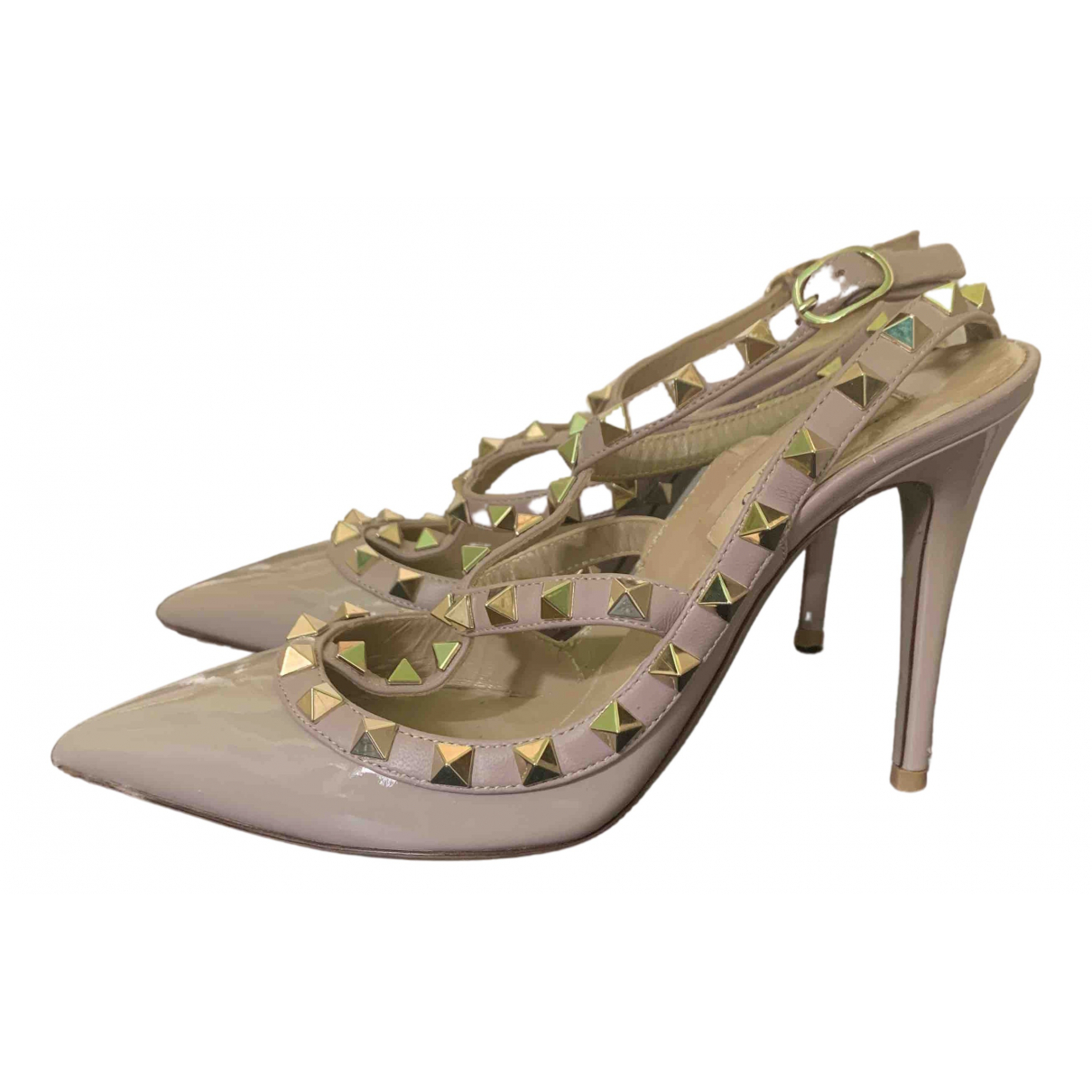 Valentino Garavani Rockstud Beige Patent leather Sandals for Women 35 EU