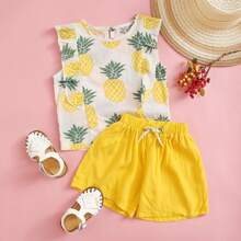 Toddler Girls Pineapple Ruffle Trim Top With Shorts