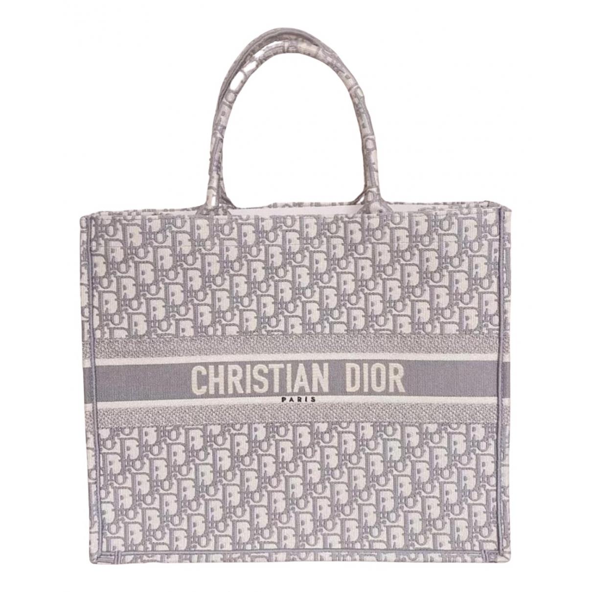 Dior Book Tote Handtasche in  Grau Leinen