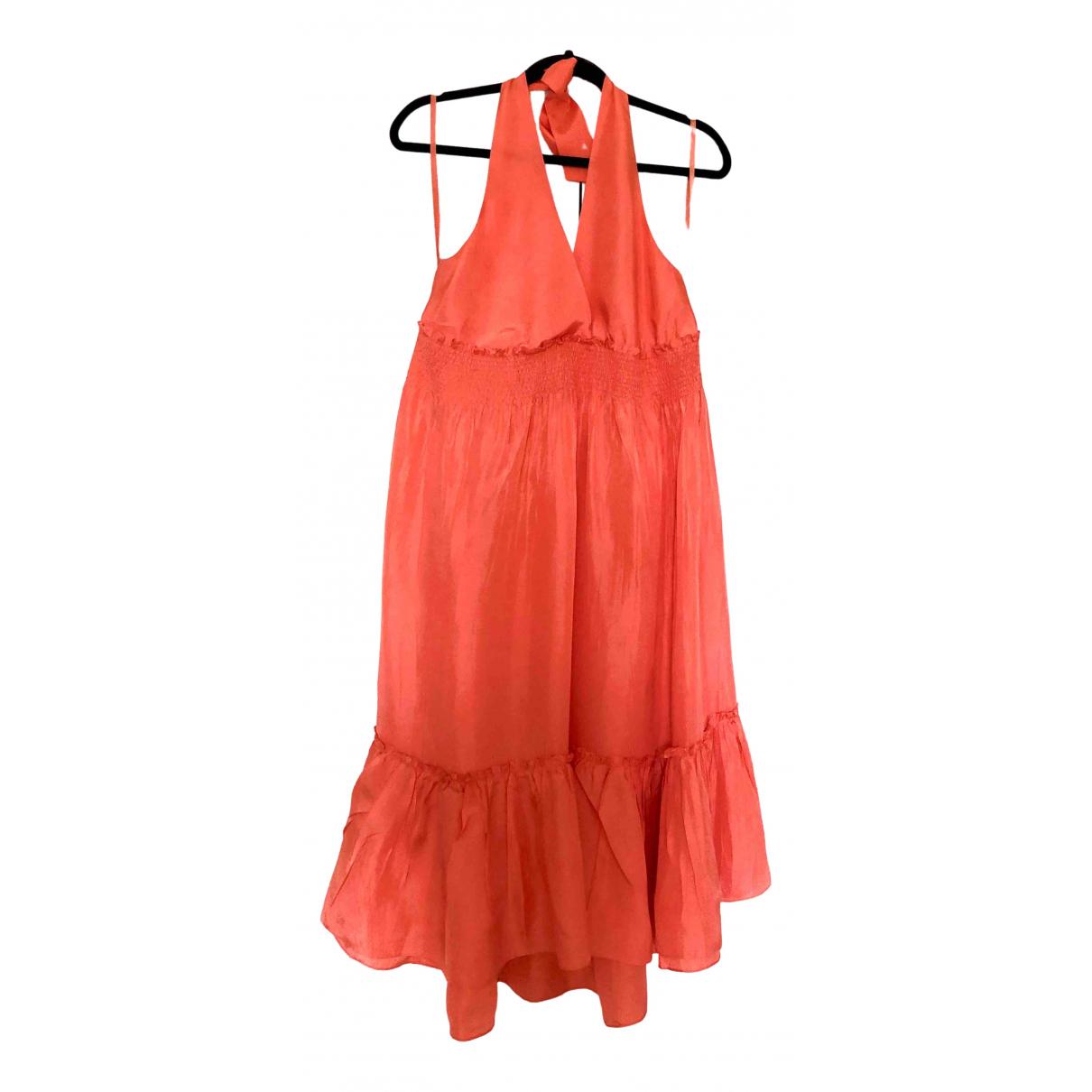Bcbg Max Azria \N Kleid in  Orange Seide
