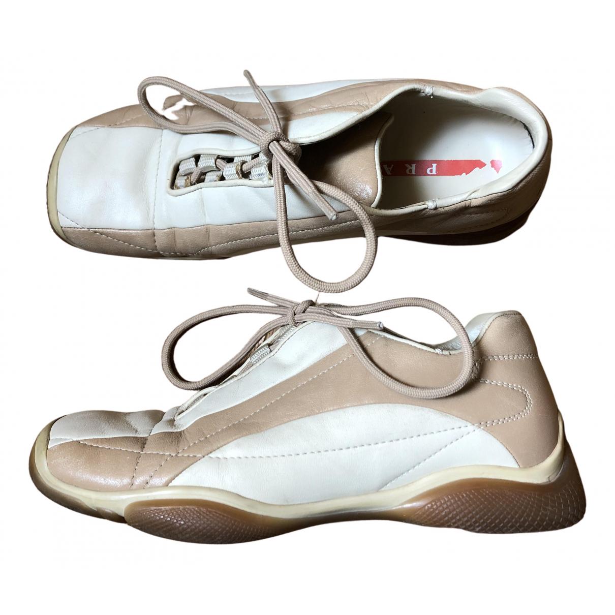 Prada \N Sneakers in  Beige Leder