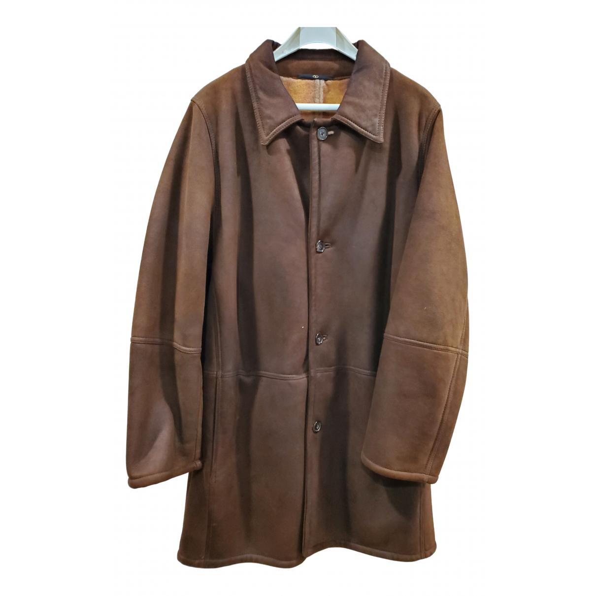 Valentino Garavani - Manteau   pour homme en cuir - marron
