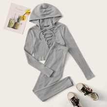 Ribbed Lace-Up Hooded Cropped Tee & Leggings Set