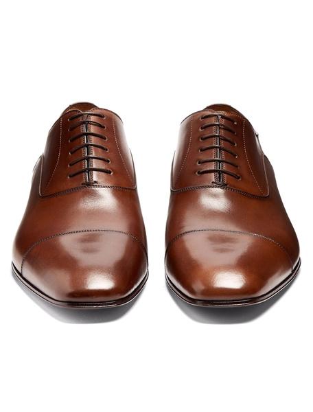 Milanoo Zapatos de vestir Planos de puntera cuadrada de cuero marron Color liso estilo modernopara hombre Verano