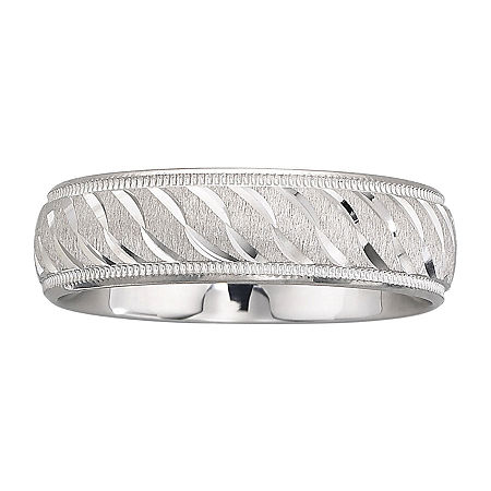 Mens 6mm Swirl Sterling Silver Band, 9 1/2 , No Color Family