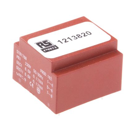 RS PRO 2 x 6V ac 2 Output PCB Mount PCB Transformer, 0.35VA