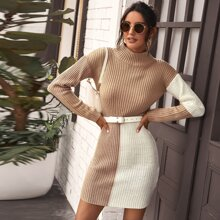 Color Block Rib-knit Sweater Dress Without Belt