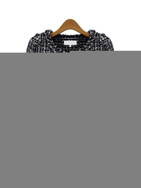 Milanoo Chaqueta corta de mujer Chaquetas de tweed de manga larga con cuello joya