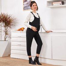 Maternity Slant Pocket Adjustable Strap Cord Overalls