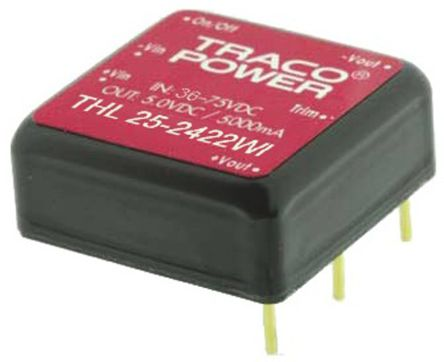 TRACOPOWER THL 25WI 25W Isolated DC-DC Converter Through Hole, Voltage in 9 → 36 V dc, Voltage out 12V dc