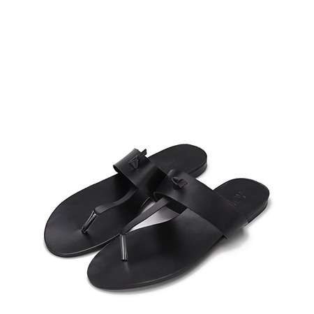 Yoins Black Leather Look Simple Style Flat Sole T-bar Strap Slippers