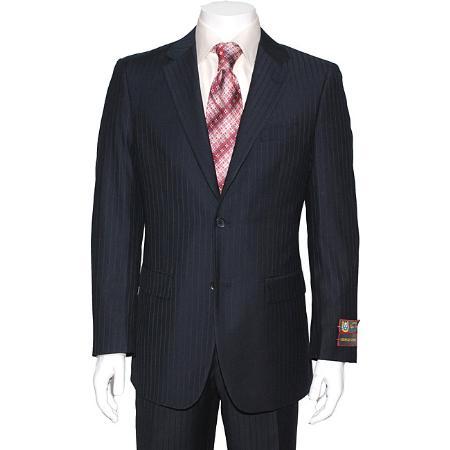 2 Button Navy Blue Striped Suit Mens Cheap