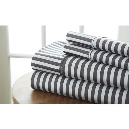 Casual Comfort Premium Ultra Soft Ribbon Pattern Microfiber Wrinkle Free Sheet Set, One Size , Gray