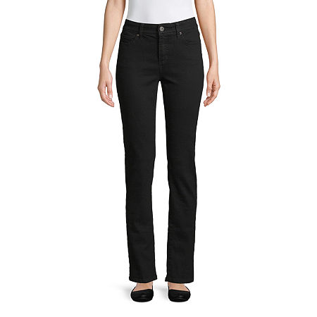 St. John's Bay Womens Mid Rise Straight Leg Jean, 14 , Black