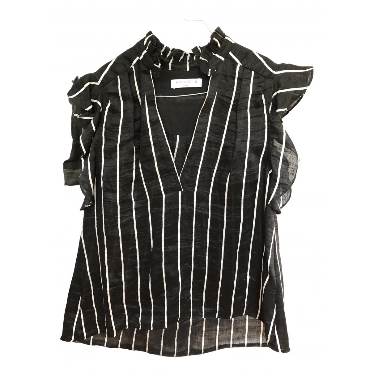 Sandro - Top   pour femme en lin - noir