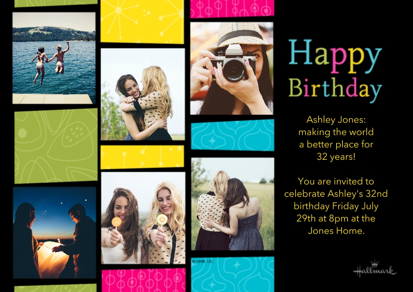 Birthday Party Invites 5x7 Cards, Premium Cardstock 120lb with Scalloped Corners, Card & Stationery -Fun Color Blocks