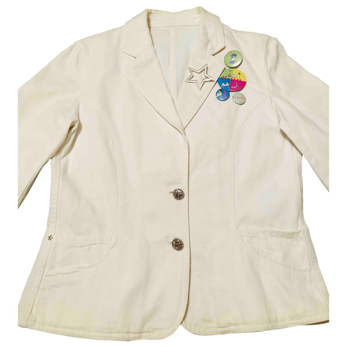 Versace N White Cotton jacket for Women 42 IT