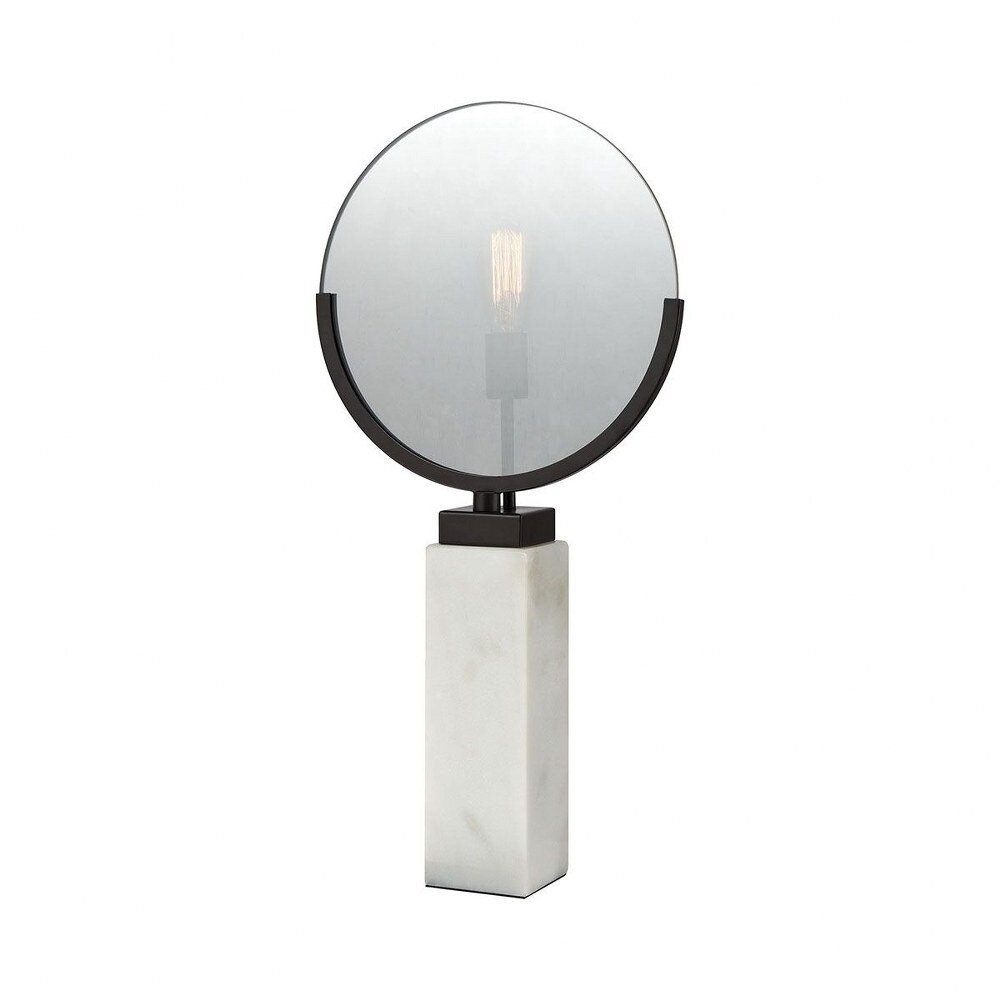 Beauty Mirror Shaped Table Lamp with Clear Smoke Finish Glass with Square White Marble Base  Oiled (Oiled Bronze Finish Plated Smoke Glass White Mar)