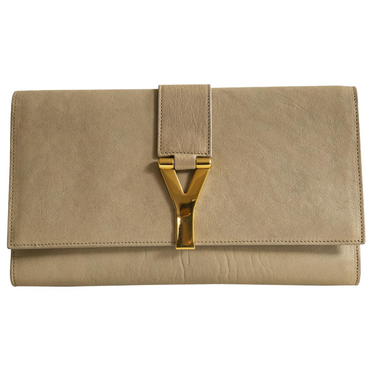 Yves Saint Laurent - Pochette   pour femme en cuir - beige