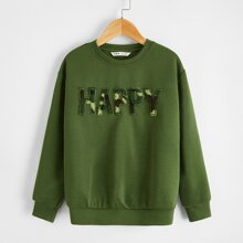 Boys Shearling Letter Patched Pullover