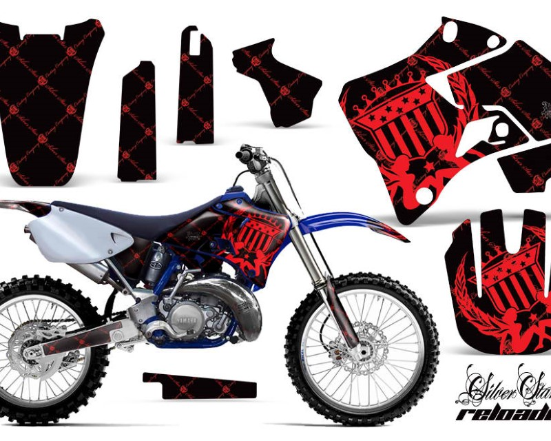 AMR Racing Dirt Bike Graphics Kit Decal Sticker Wrap For Yamaha YZ125 YZ250 1996-2001áRELOADED RED BLACK