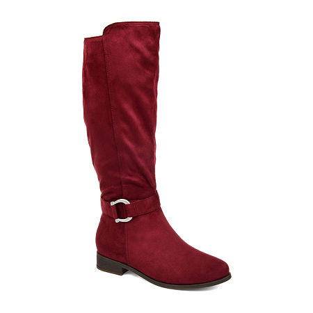 Journee Collection Womens Cate Wide Calf Stacked Heel Zip Riding Boots, 10 Medium, Red