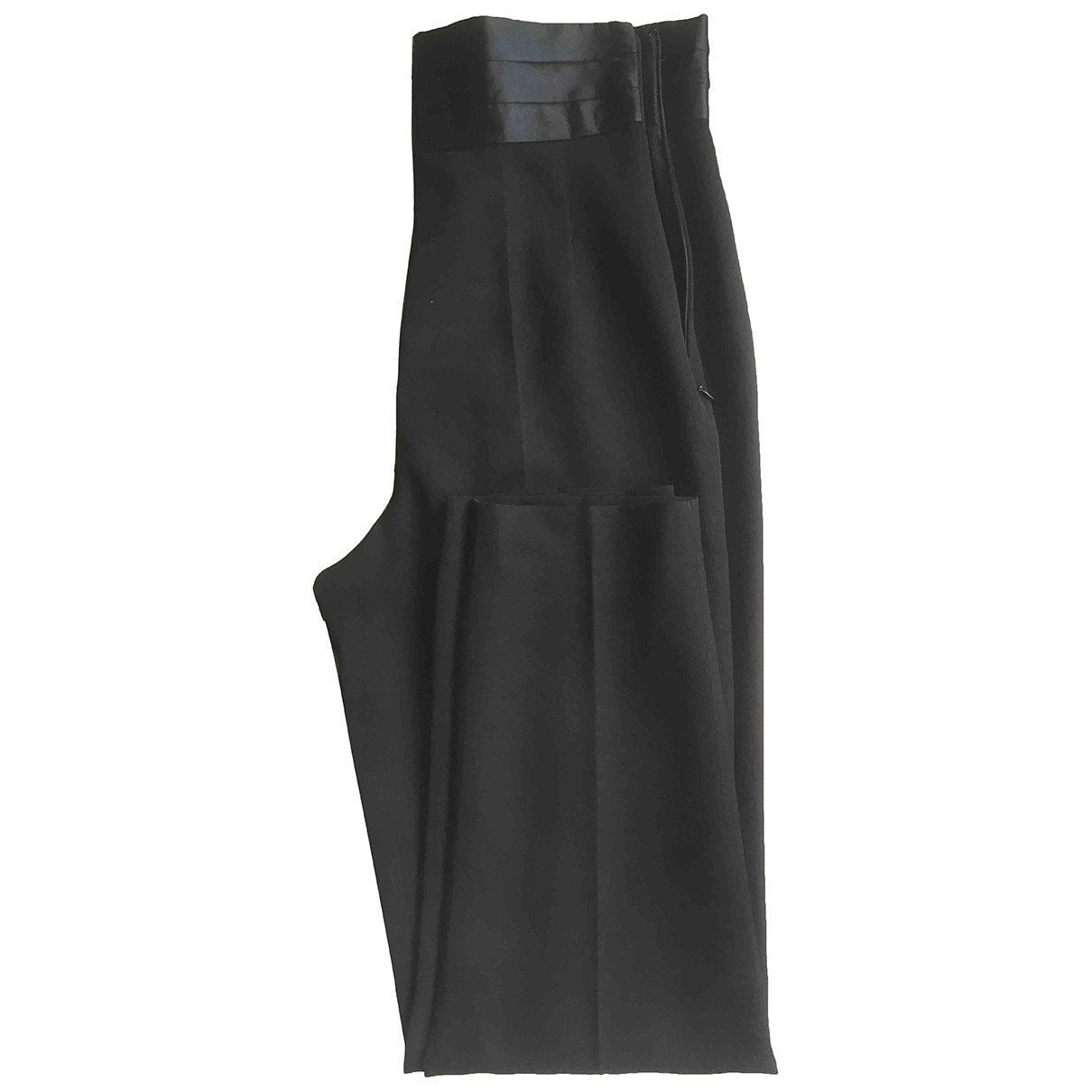 Non Signé / Unsigned \N Black Wool Trousers for Women 38 IT