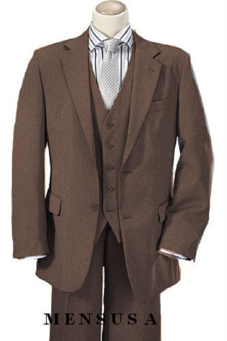 Mens Bronze 2 Button Vested 100% Wool Notch Lapel Vented 3 Piece Suit