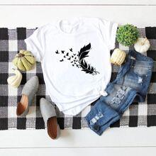 T-Shirt mit Feder & Schmetterling Muster