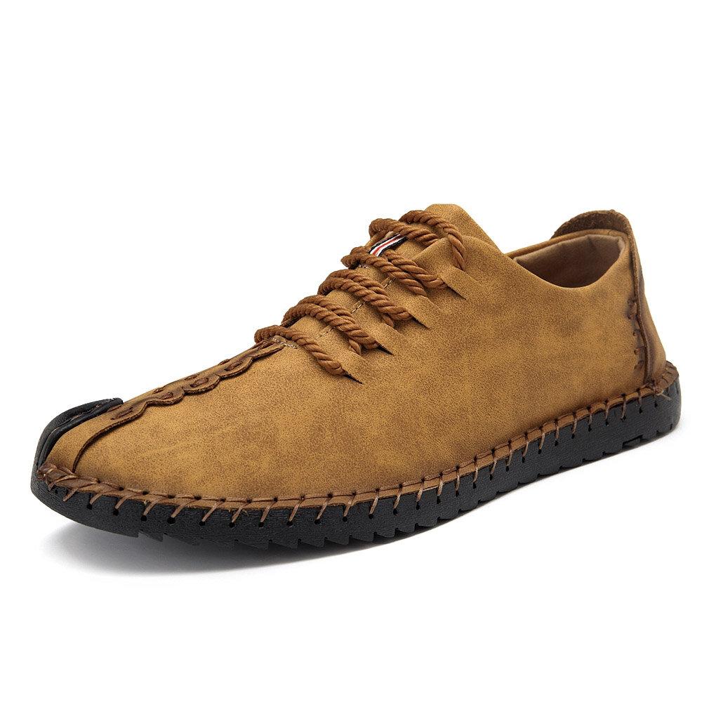 Menico Men British Style Retro Stiching Soft Sole Lace Up Flat Cap-toe Shoes