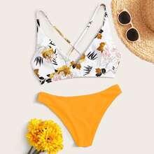 Bikini mit Band hinten und zufaelligem Blumen Muster