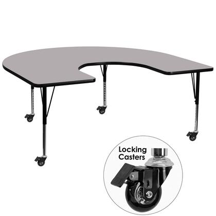 XU-A6066-HRSE-GY-T-P-CAS-GG 66 Activity Table with Horseshoe Shape  Locking Casters  Height Adjustable Short Tubular Steel Legs  Stain Resistant