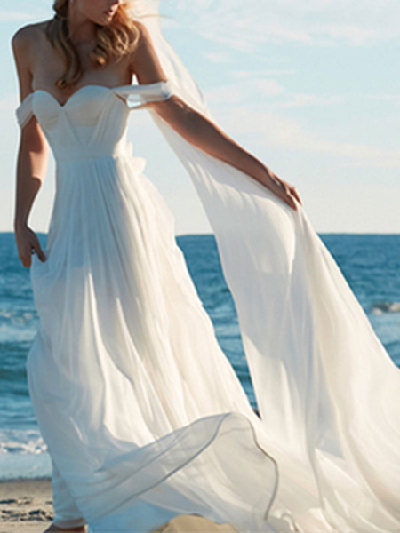 Milanoo Vestido de novia Una linea fuera del hombro Cuello cariño Sin mangas Hasta el suelo Con tren Vestidos de novia