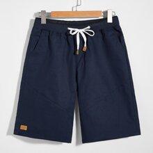 Men Drawstring Slant Pocket Shorts