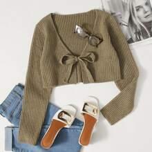 Tie Front Rib-knit Cardigan