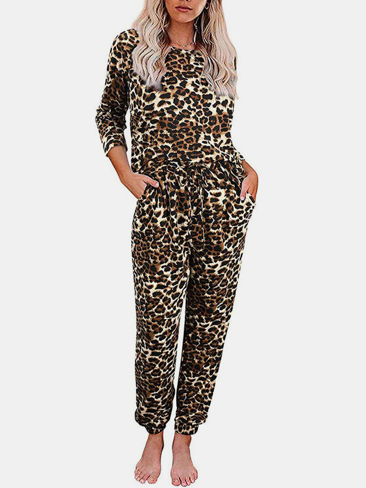 Leopard Printed Long Sleeve Suit Two-pieces Homewear Sweatsuit