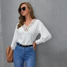 Lace Trim Drop Shoulder Lantern Sleeve Tee